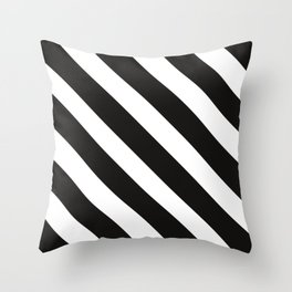 CVS0096 Black and White wide slanted angled stripes Throw Pillow