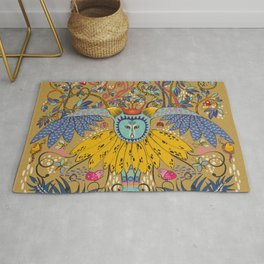 Owl in gold kingdom Rug