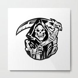 grim reaper black an white Metal Print