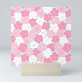 Cute Pink & White Cherry Blossom Seamless Pattern with Sky Blue Background Mini Art Print