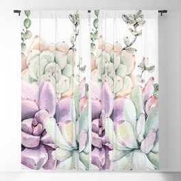 Succulents Mint and Purple by Nature Magick Blackout Curtain