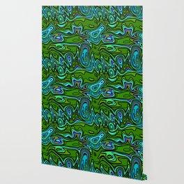 Cartoon Green Psychedelic Wallpaper