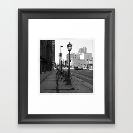 B&W City with Bikes Framed Art Print