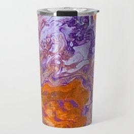 Clemson Orange and Purple Paint Pour Effect Travel Mug