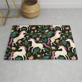 Dancing Unicorns In The Garden Fantasy Tapestry Pattern Rug