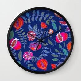 Pomegranate pattern electric blue Wall Clock
