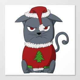 Angry Xmas Kitty Canvas Print