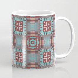 Aqua Turquoise Coral Red Brown Mosaic Pattern Coffee Mug