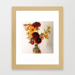 Black Dalhlia Vase Arrangement Framed Art Print
