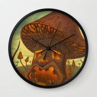tiki Wall Clocks featuring Tiki Shroom by Thomas W Lynch III