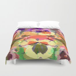 Colourful grunge Pansies Duvet Cover