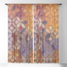 a piece of orange pink and peurple I Sheer Curtain