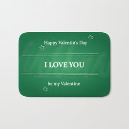 old Broadway style greeting for Valentine's day on green background Bath Mat