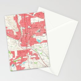 Vintage Map of Colorado Springs CO (1961) Stationery Cards