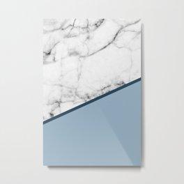 Real White Marble Half Ocean Grey Steel Blue Metal Print
