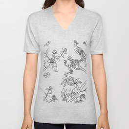 Color Your Own Chinoiserie Panels 3-4 Contour Lines - Casart Scenoiserie Collection Unisex V-Neck
