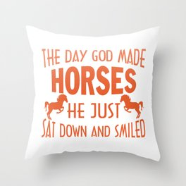 GOD MADE HORSES Throw Pillow