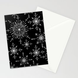 Winter Wonderland Snowflakes Black and White Stationery Cards