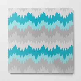 Teal Turquoise Blue Grey Gray Chevron Ombre Fade Zigzag Metal Print