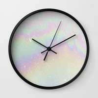 holographic Wall Clocks featuring Holographic! by Alisa Galitsyna