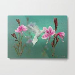 White Hummingbird And Pink Guara Metal Print