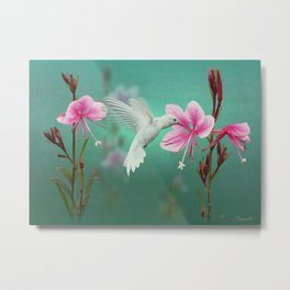 White Hummingbird And Pink Guara Metal Print