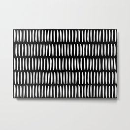 Classy Handpainted Stripes Pattern Black, Scandinavian Design Metal Print