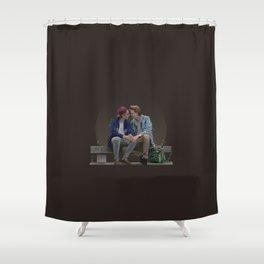 LOVE, EVAK. (dark version) Shower Curtain