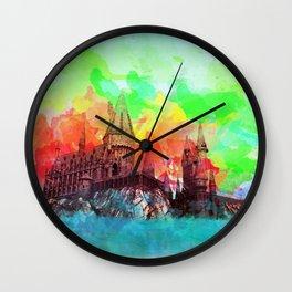 Watercolor Hogwarts Wall Clock