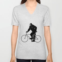 Bigfoot  riding bicycle Unisex V-Neck
