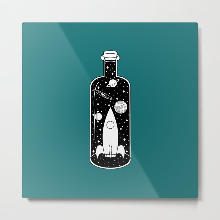 Space Ship in a Bottle Metal Print