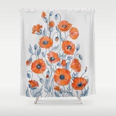 Poppies botanical art Shower Curtain