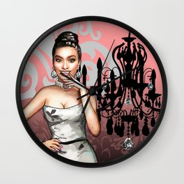 Retro Pinup Girl & Chandelier Floral Damask Wall Clock