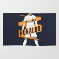 ronaldo Area & Throw Rugs featuring Cristiano Ronaldo - Real Madrid  by KieranCarrollDesign