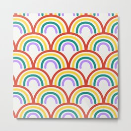Boho Retro Rainbow Repeat Metal Print