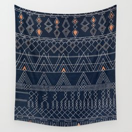 Blue Farmhouse Antique Traditional Moroccan Style Artwork Wall Tapestry