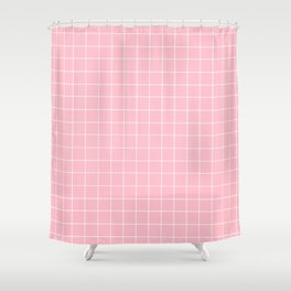 Pink Grid Shower Curtain