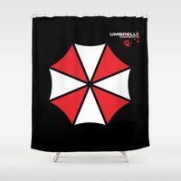 resident evil Shower Curtains featuring Most evil corporation ever! by aceofspades81