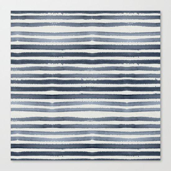 Simply Shibori Stripes Indigo Blue on Lunar Gray Canvas Print