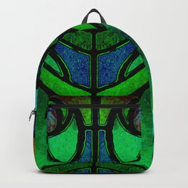 Green and Aqua Art Nouveau Stained Glass Art Backpack