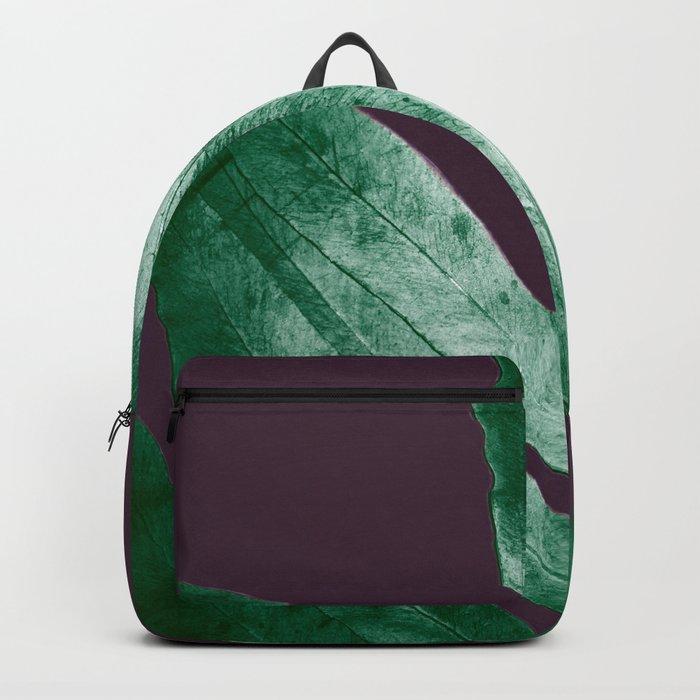 Green Fall Fern Purple Backpack