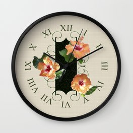 Hibiscus Tiles Wall Clock