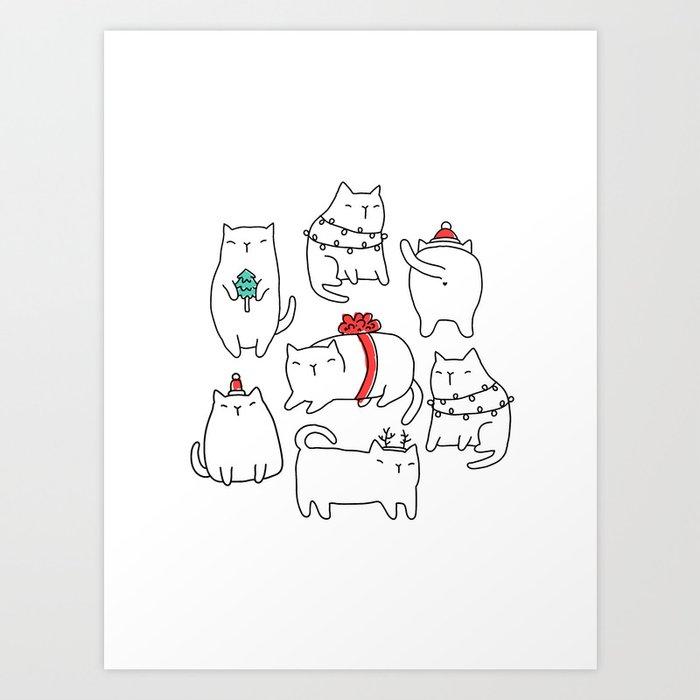 Fat Christmas cats Kunstdrucke