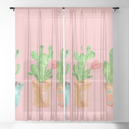 Three Green Cacti On Pink Background Sheer Curtain