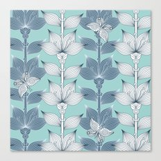 WHITE AND BLUE FLOWERS Canvas Print