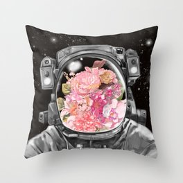 Astronaut Flowers Selfie Throw Pillow