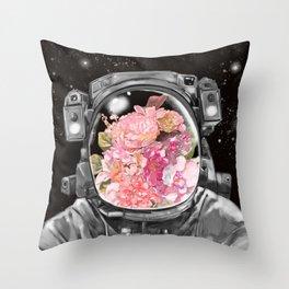 Astronaut Flowers Selfie Throw Pillow