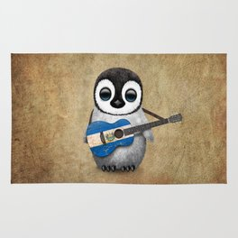 Baby Penguin Playing Salvadorian Flag Acoustic Guitar Rug