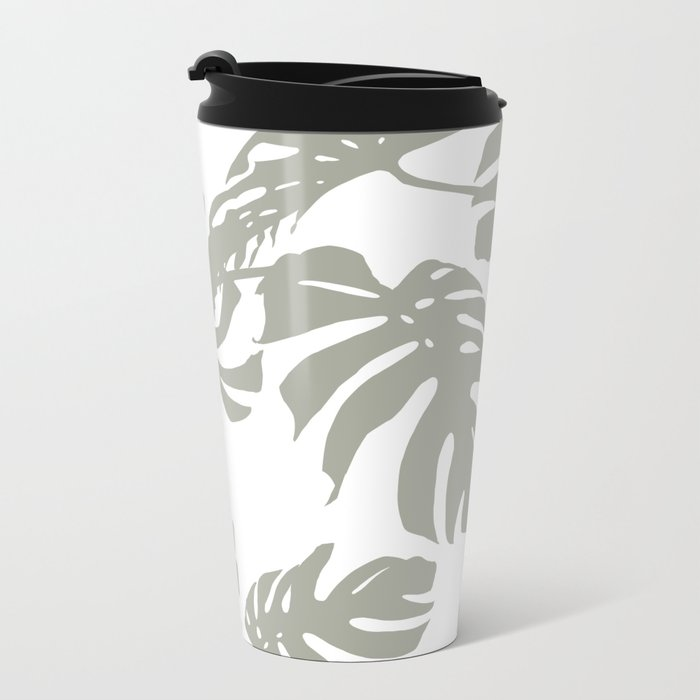 Simply Retro Gray Palm Leaves on White Metal Travel Mug