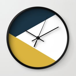 Jag: Minimalist Angled Color Block in Light Mustard, Navy Blue, and White Wall Clock